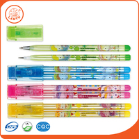 Lantu Wholesale Plastic Twin Pen Ball Pen And None-Sharpning Pencil Set In One Case