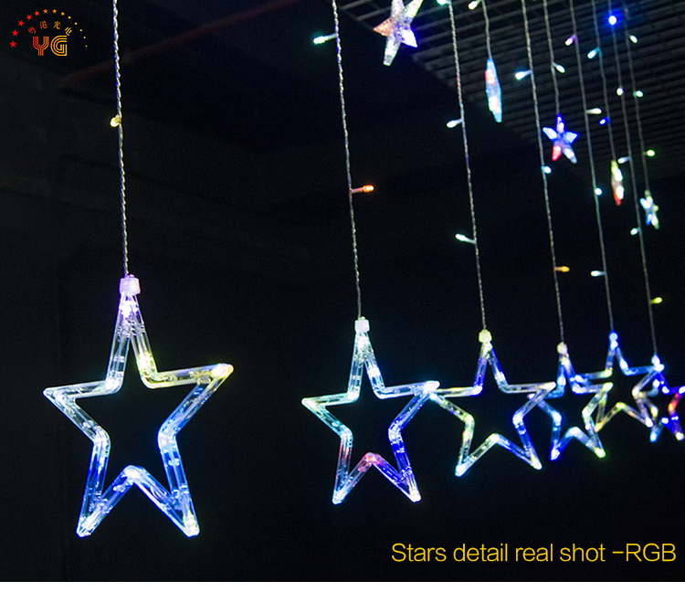 Wholesale pvc water-proof LED curtain light outdoor christmas decoration led twinkling stars led curtain lights
