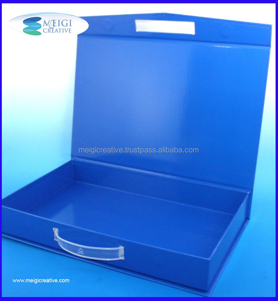 Glossy Rigid set-up gift handle Box, Briefcase Carton Box with Handle