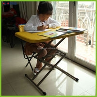 Children's matal folding outdoor table with bench and umbrella HQ-1052-90