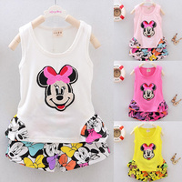 2015 new summer children girls clothing sets mouse clothes vest tops t shirt + short pants cotton baby kids 2 pcs suit