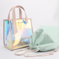 hot selling PVC hologram lady handbag with leather handle women transparent laser holographic shopping tote beach shoulder bag