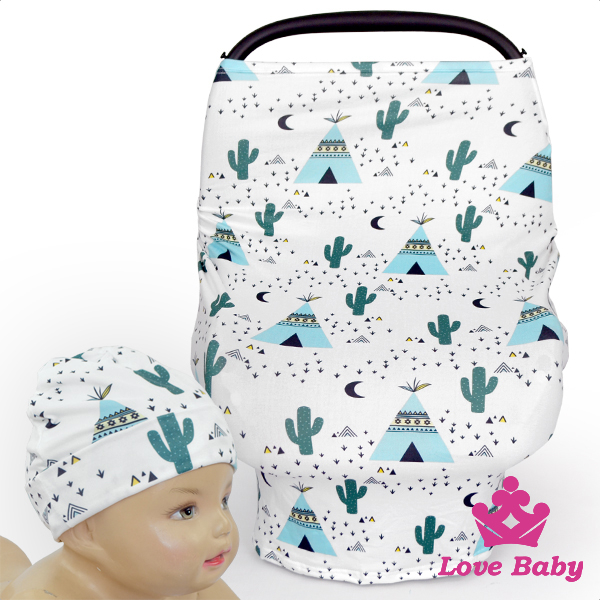 CT-85 Lovebaby Printed Pattern Car Cover With Same Fabric Newborn Hat