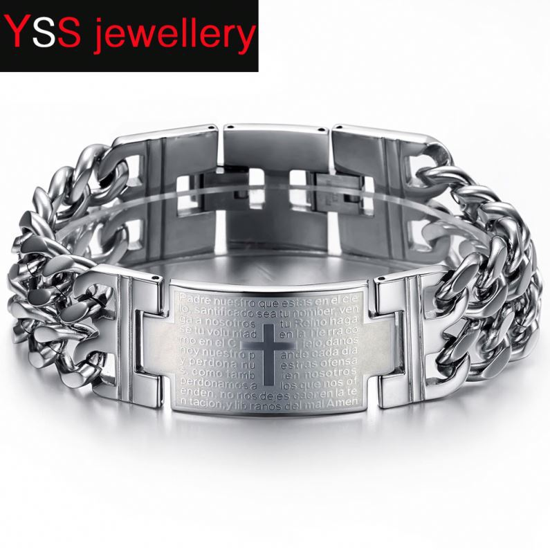 Wholesale Fashion Jewelry Spanish Bible Lord Prayer Cross bracelet hand chain for men