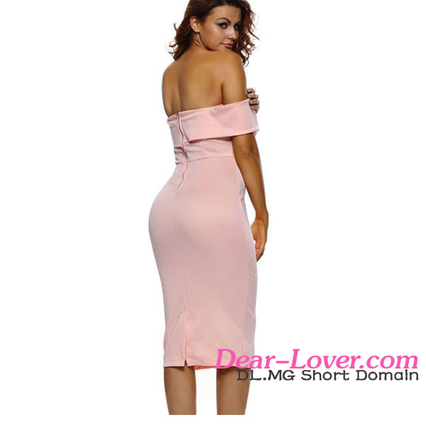 Dear-lover www six photo com Pink Off-the-shoulder girl sexy image midi dress