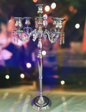 Multifunctional 5 arm Candelabra for Wedding Centerpieces , Nickel Plated Candelabra ,Silver Candelabra