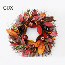Customized wholesale christmas decorations artificial Pine cones harvest fall decorative christmas wreath for sale