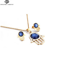 Top Quality Gold Color Crystal Women Silver Stainless Steel Hamsa Jewelry Set Party Necklace Earrings Pendant