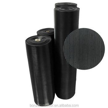 Anti-slip fine ribbed rubber flooring mats/sheets with high friction