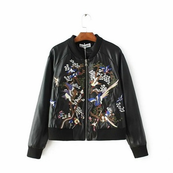 Hot Sale Women Embroidered Leather Jacket Style Coat Autumn Winter, faux leather jacket