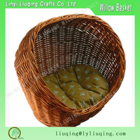 Factory wholesale large willow wicker lucky dog pet bed basket