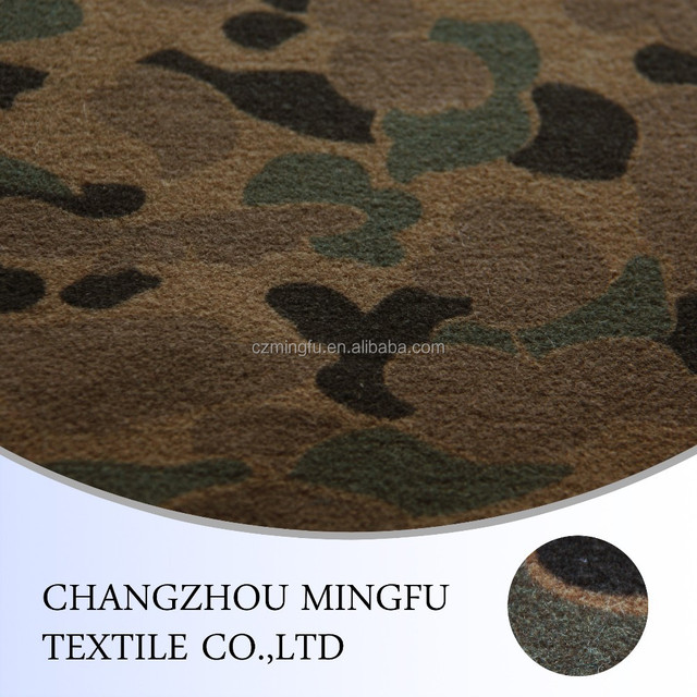 The Wool fabric with. print Military camouflage plaid use for coat.