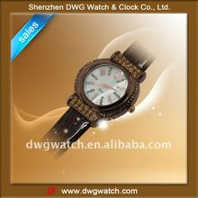 Popular lady watch with Leather strap & Miyota movement/DWG--L0058