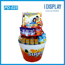 round shaped cardboard pallet display for candy promotion