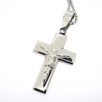 Wholesale stainless steel large size jesus silver cross pendant