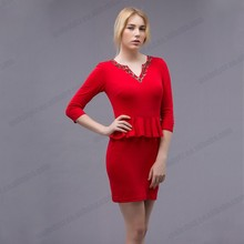 Fake two pice clothe red color lady woman modern short sleeve dresses