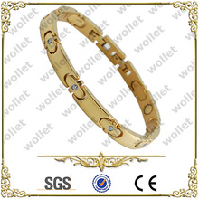 women fashion gold plated cz stone stainless steel bracelet magnets jewelry making