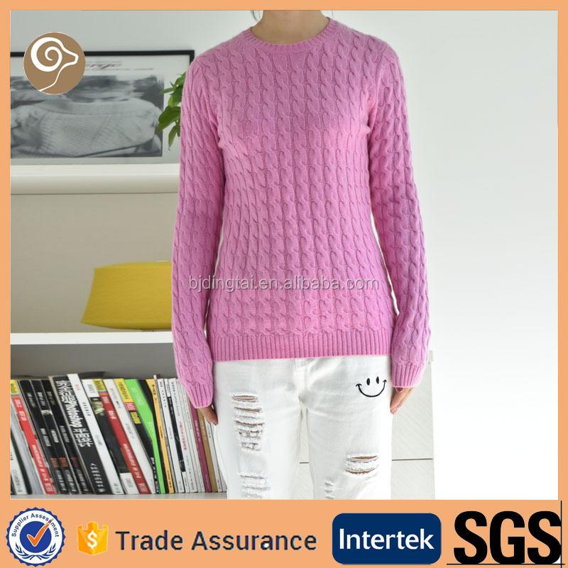O neck wholesale fashion wool cable knitted sweater
