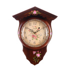 Wood Craft Wooden Wall Clock Hand-painted Elegant Wall Clock