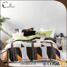 wholesale bedding set all season coffee digital printing lattice hotel cotton duvet cover sets for bed and breakfast