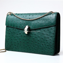 Heyco wholesale custom green exotic animal genuine ostrich skin women leather bag