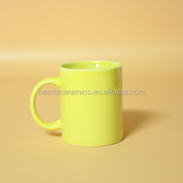 [ZIBO HAODE CERAMICS]OEM light yellow ceramic glazed mug promotional coffee mug