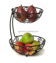 Wholesale Black Powder Coating 2 Tiers Wire Fruit Basket