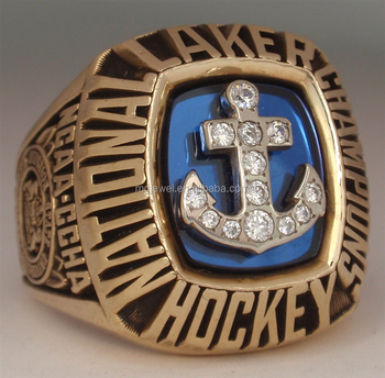 China factory cheap custom gold plated stainless steel fantasy hockey championship rings