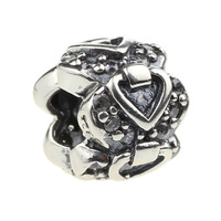 Wholesale Crystal Heart Spacer Bead 925 Sterling Silver Charm Jewelry for European Bracelet