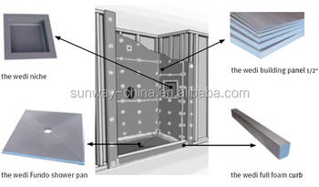 Eco friendly 24inch Shower Niche EPS reinforced-Fiberglass mesh+cement XPS tile backer board