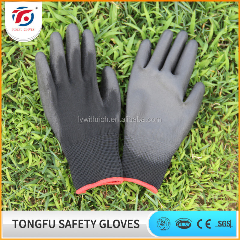 Good feeling 13 gauge polyester liner PU coated garden gloves EN388