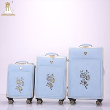 New design leisure international PU luggage travel with removable wheels