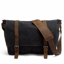 Black Shoulder Waxed Canvas Messenger Bag Manufacturer China