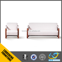 American style white well decorated leather sectional sofa with solid wood frame