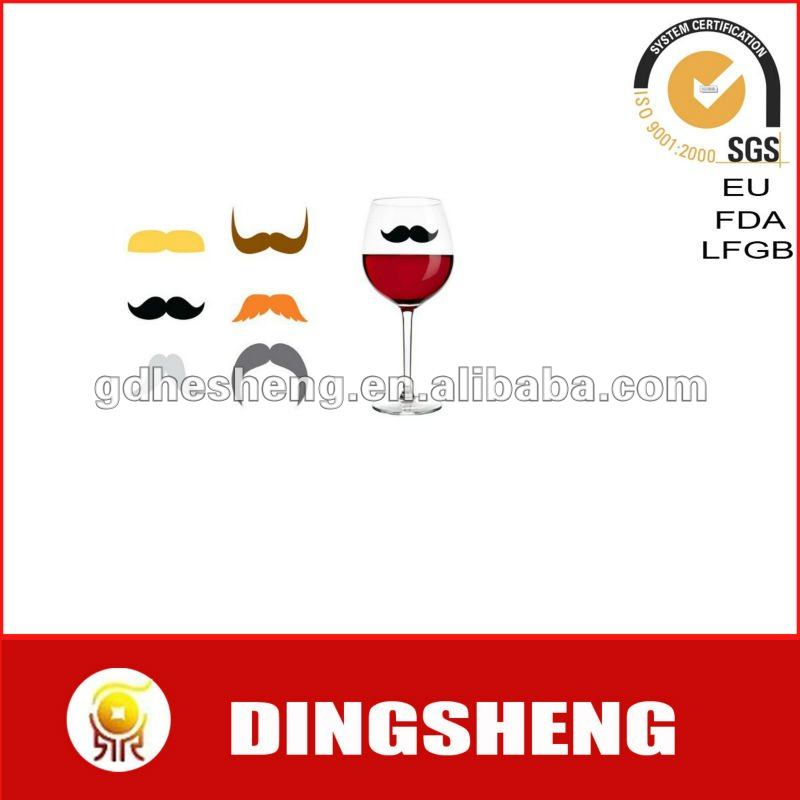 Mustache shape silicone wine glass marker with sucker