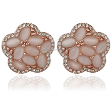 china wholesale rose gold colored natural opal stud earrings