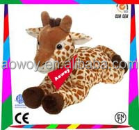 12 Inch plush lying giraffe p07s022 logo imprinted toy