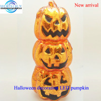 Piled up glass scary pumpkin face w/ LED light for Halloween decoration