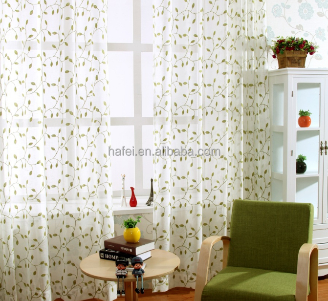 Hotel embroidery jacquard cotton lace curtain fabric