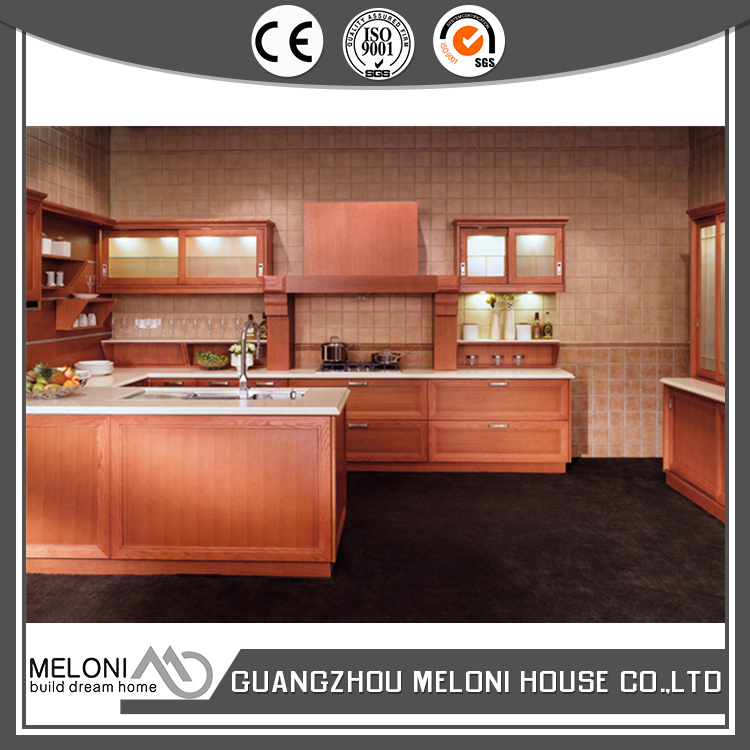 Classic wood like style integrated design mdf and pvc kitchen cabinet for villa