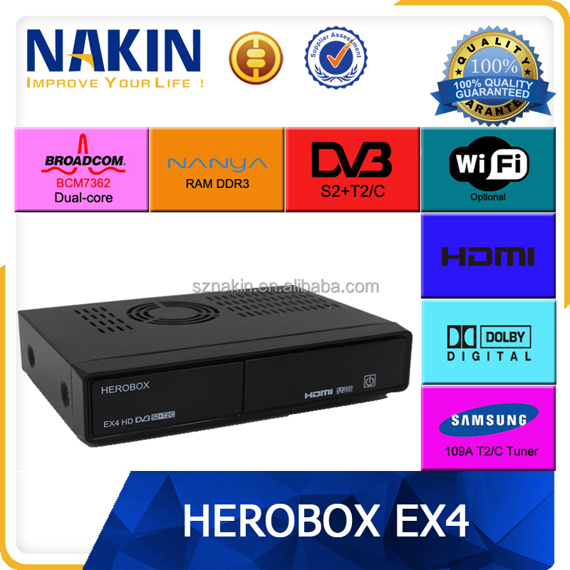 New enigma 2 linux os digital satellite receiver Herobox EX4 HD twin tuner dvbs2+t2/c dual core bcm7362 hd receiver with wifi