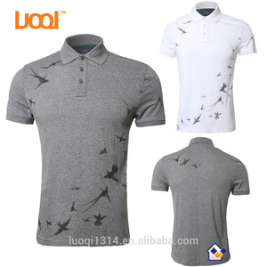 Luoqi Oem Factory 95% Cotton 5% Spandex Pique 200g Grey Colour Brid Design Screen Printing Custom Men New Design Polo Shirt