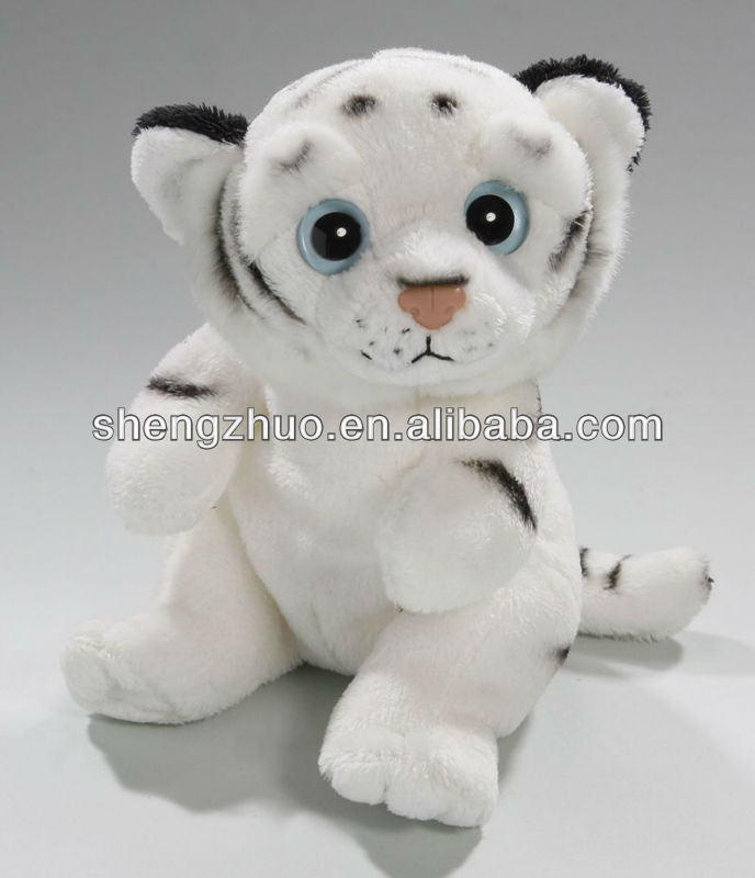 Custom Plush toy white stuffed animal sitting tiger
