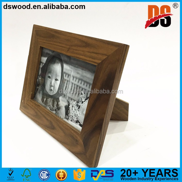 Walnut wood rectangle dark home etc wooden photo frame with glass rectangles