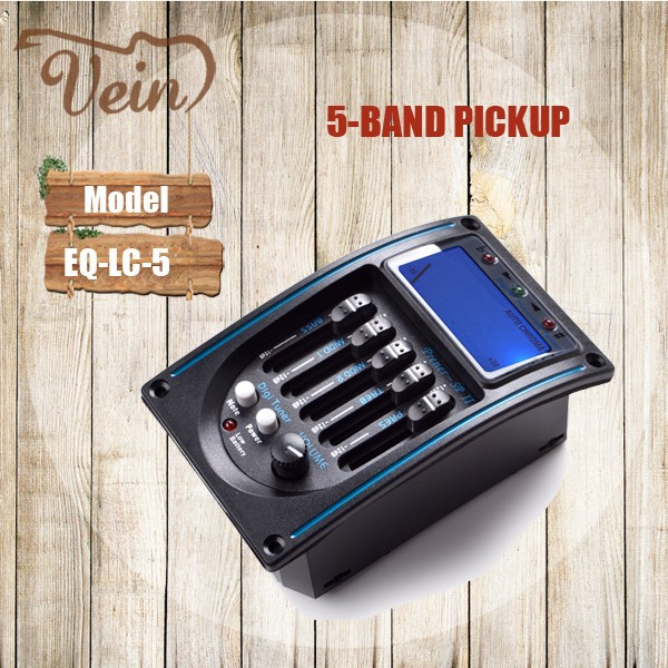 Wholesale 5band guitar pickups with LCD turner acoustic guitar equalizer