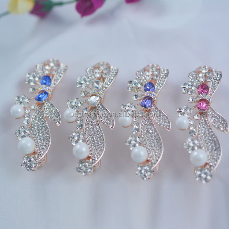 Newest Beautiful Rhinestone Hair Clip Flower Barrettes for Girls