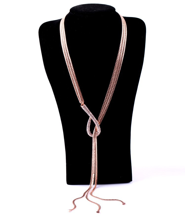 LUXURY Gold chains necklace costume jewelry hong kong gold chains crystal knot necklace fabulous chains necklace