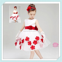 Lovely baby girls dress petals wedding dresses casual kids clothes popular ball gown 3-9T baby clothing sleeveless girl vestidos
