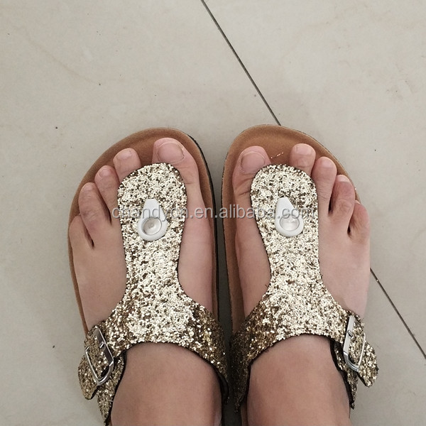Wholesale Inspired Gold Glitter Cork <strong>Sandals</strong> Womens