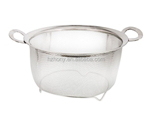 3 Quart Stainless Steel Mesh Net Strainer Basket with a Wide Rim Resting Feet and Handles - Colander to Strain, Rinse Strainer